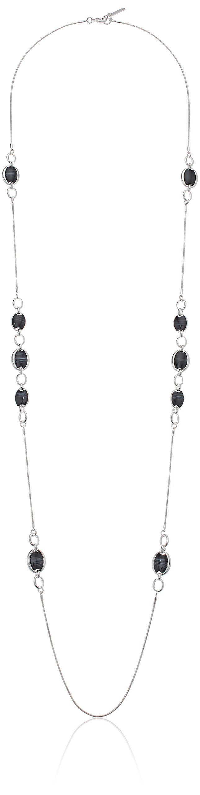 Nine West Women's Silver-Tone and Jet 42'' Strand Necklace, Size 0