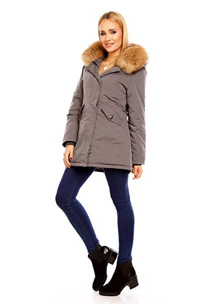 Mayaadi Damen Winter Parka Jacke Mantel 100% Echtes XXL Fell Pelz Kapuze HS-6015  Grau XL  Amazon.de  Bekleidung bbac53bc7d