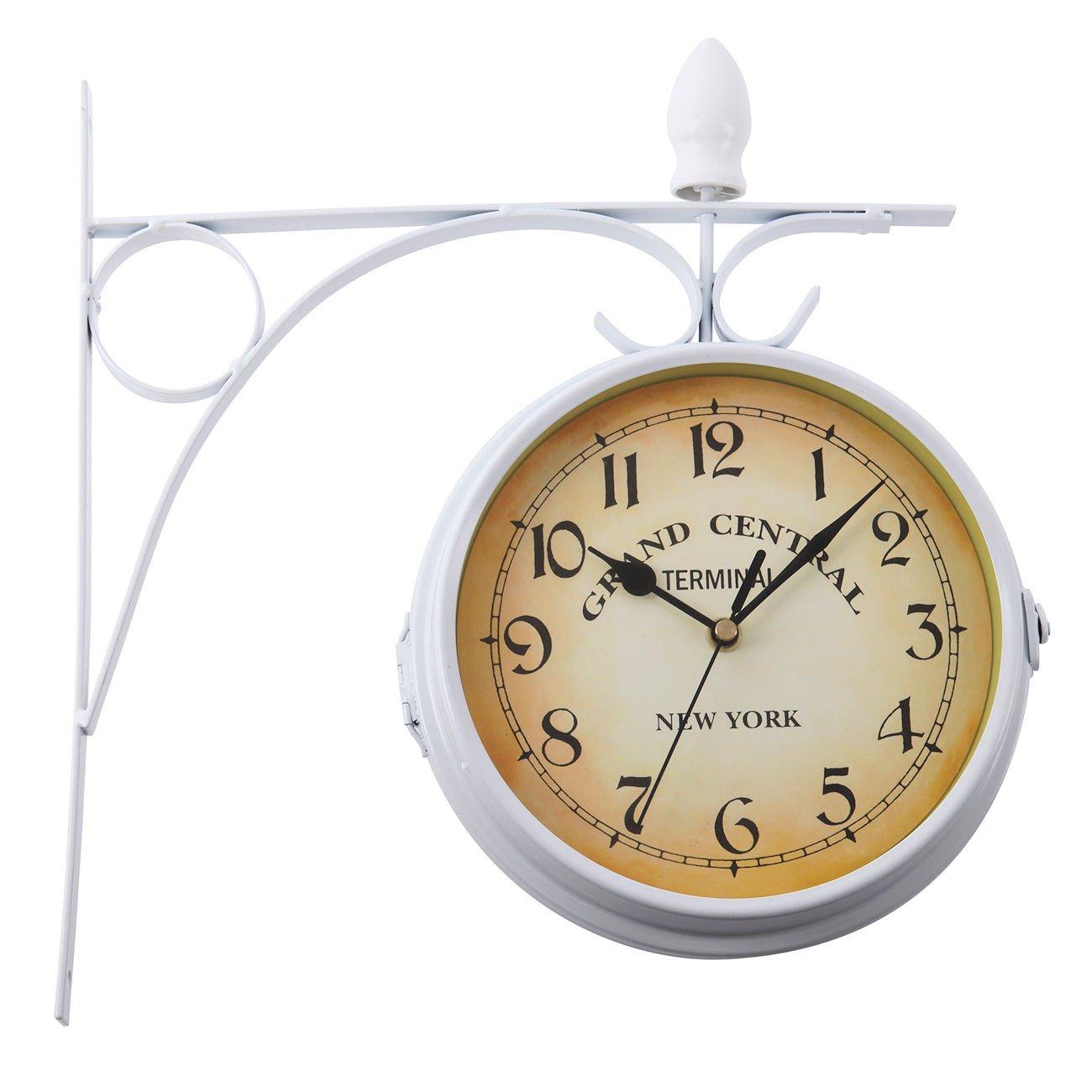 Paneltech European Style Double Wall Clock,Living Room Home Indoor Outdoor Garden Clock Fashion Style Double Side Wall Clock Home Station Clock (Black)