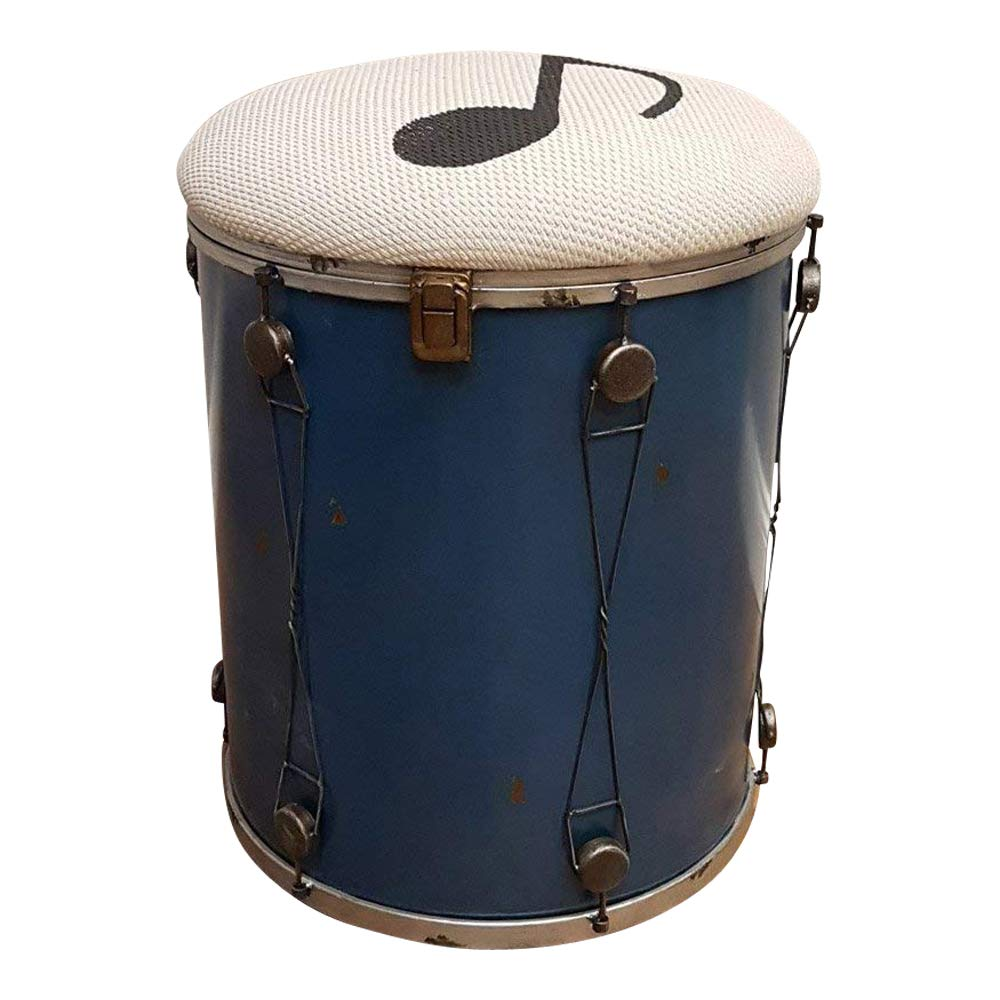 Faibels Kinderzimmer Taburete Music con Compartimiento Almacenamiento Metal Look Vintage Música Shabby Puf Caja Taburete para niños Drum