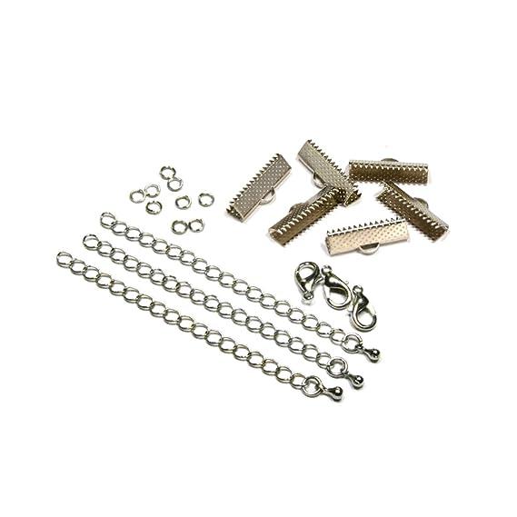 "Lobster Clasps /& Chain 1//2/"" 6 Sets Antique Bronze Crimp Ends for 13mm Ribbon"
