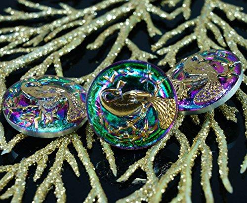 1pc Handmade Czech Glass Button Gold Peacock Volcano Green Purple Size 10, 22.5mm