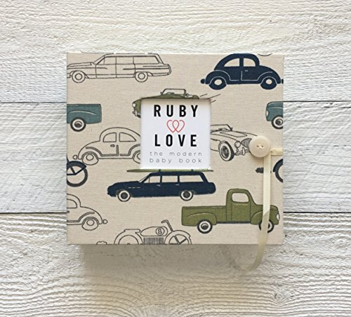 Vintage Cars Baby Memory Book (Green & Blue)