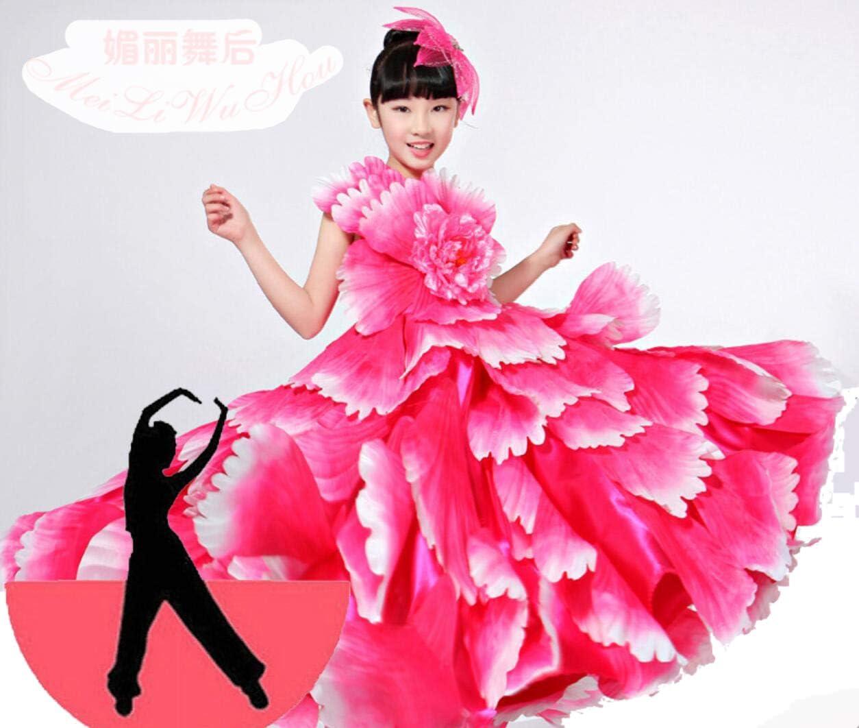 SMACO Traje de niña española Vestido Largo de Flamenco Rojo Falda ...