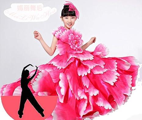 SMACO Traje de niña española Vestido Largo de Flamenco Rojo Falda de salón para niñas Vestidos de Baile para niños Disfraces para niños Ropa: Amazon.es: Deportes y aire libre