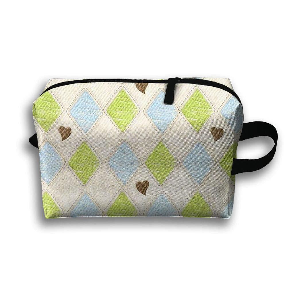 Plaid Love Sign Cosmetic Bags Makeup Organizer Bag Pouch Zipper Purse Handbag Clutch Bag