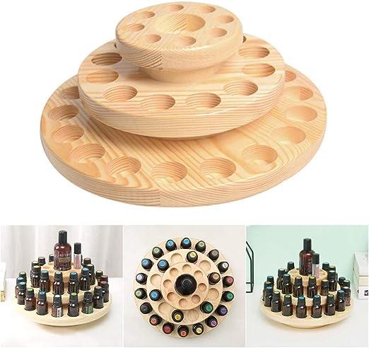 3層木製エッセンシャルオイルディスプレイストレージオーガナイザーホルダースタンド、サークルケースアロマセラピーボトル用マニキュアスタンドマニキュアディスプレイ