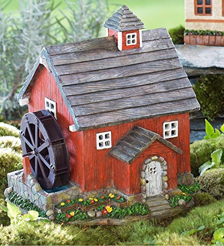 Plow & Hearth 57346 Solar Powered Miniature Fairy Mill House