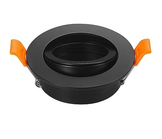 Pack de 2 negro LED Downlight marco redondo (soportes ajustable de 65 mm para MR16