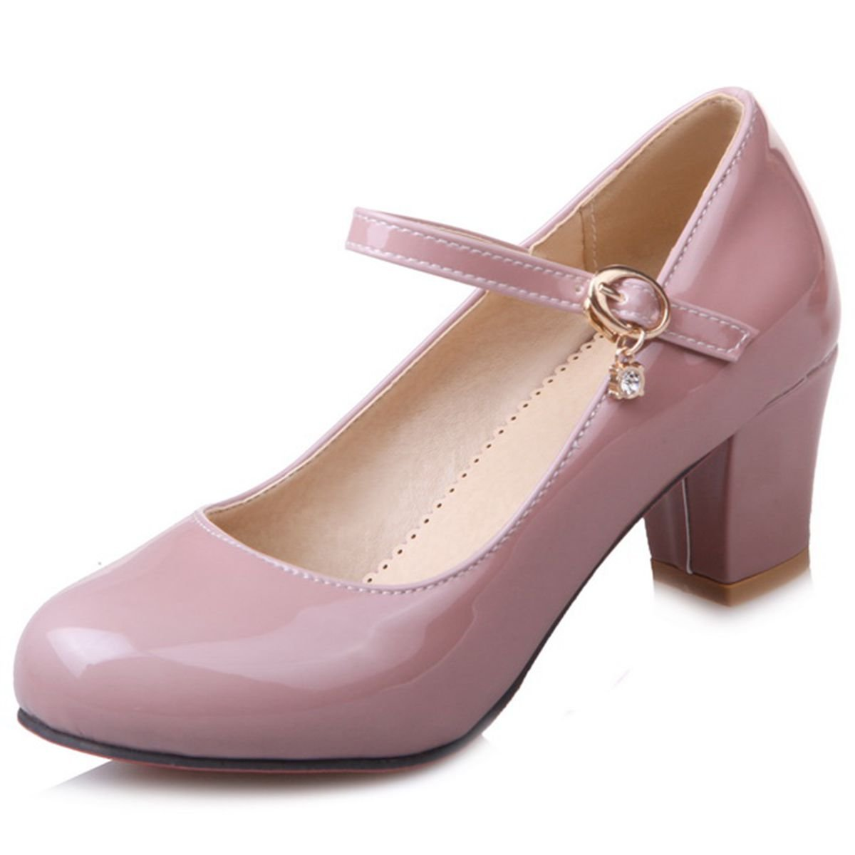 Amazon.com | DecoStain Womens Causal Patent PU Leather Ankle Strap Mary Janes Block Mid Heel Pumps Shoes | Pumps