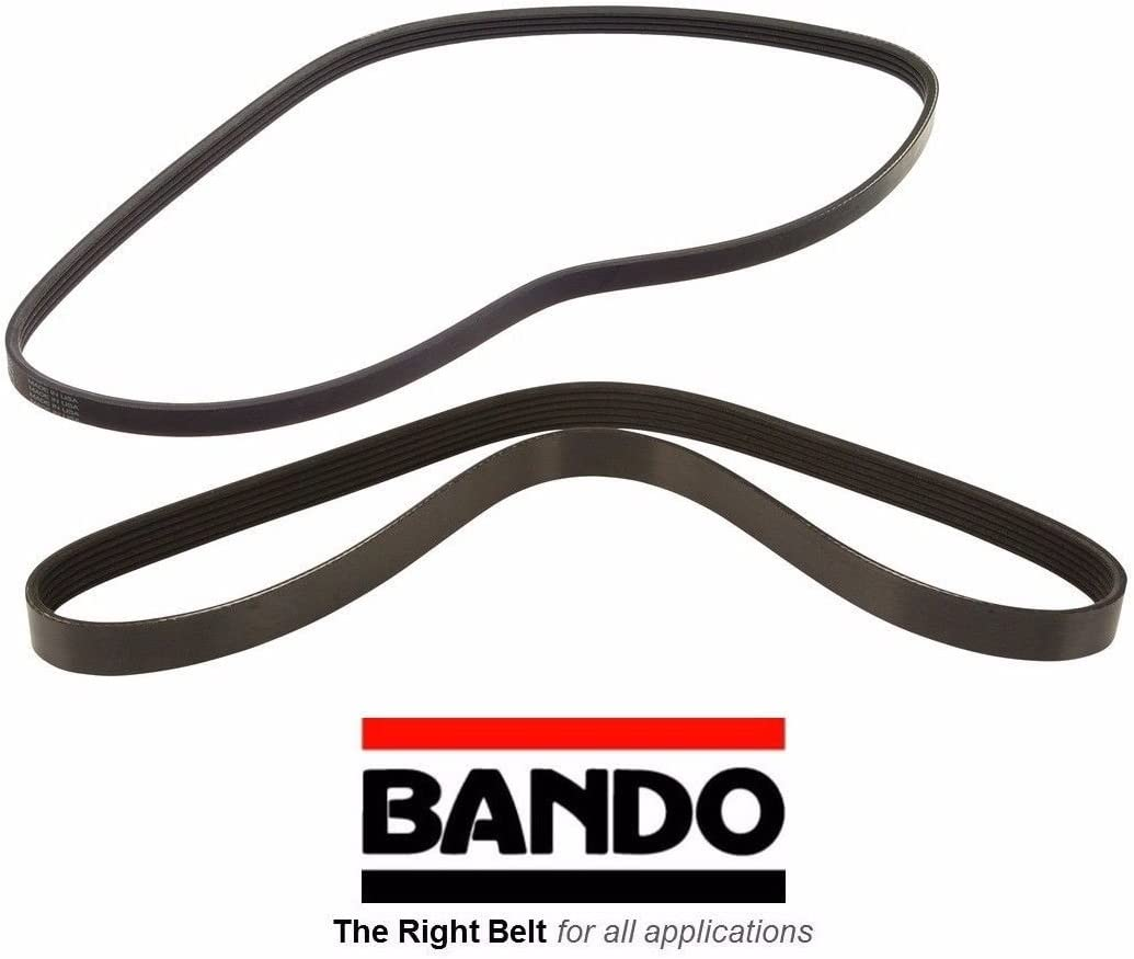 BANDO 6PK1105 BANDO 4PK1065 OEM Quality Serpentine Belt SET Compatible With 1998 1999 2000 2001 2002 HONDA ACCORD 2.3L DX EX LX SE SERPENTINE DRIVE BELT SET ALTERNATOR//AC POWER STEERING