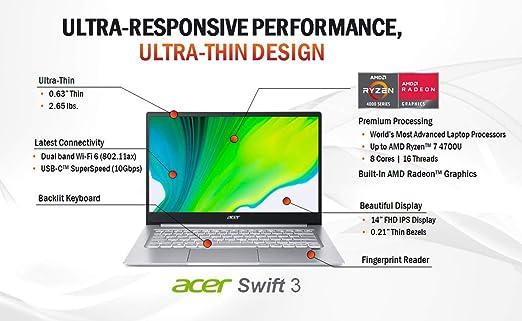 "Amazon.com: Acer Swift 3 Thin & Light Laptop, 14"" Full HD IPS, AMD Ryzen 7  4700U Octa-Core with Radeon Graphics, 8GB LPDDR4, 512GB NVMe SSD, Wi-Fi 6,  Backlit KB, Fingerprint Reader, Alexa"