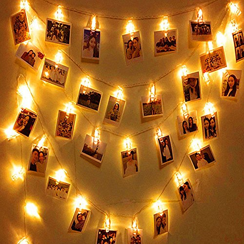Ocama Card Photo Clip String Lights Battery Operated Christmas Lights New Year Party Wedding Home Decoration Fairy light,3M 20LED