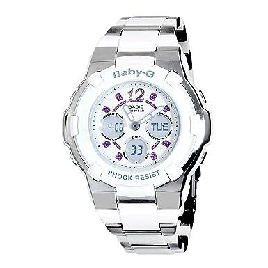 Casio Women s BGA112C-7B Baby-G White and Silver-Tone Rhinestone Accented Watch
