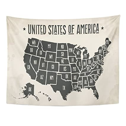 Emvency 60x80 Inch Tapestry Mandala Home Decor Map Of United States America  With Names Black And White Usa For Geographic Themes Tapestries Bedroom ...