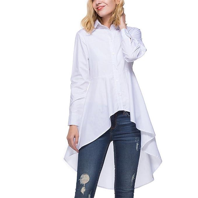 d71ec2b6d10 Camisa Larga de Fiesta Vintage de Mujer Camisa de Blusa Solapa de Primavera  y Primavera de Mujer Camisas de Mujer de Manga Larga Blanca Baja Alta  ...