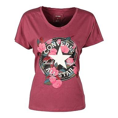 0782230d8724 Converse Womens T-Shirt Floral Chuck Patch Femme Tee Port