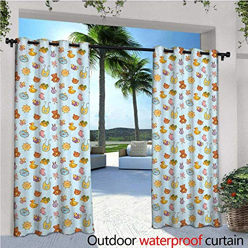 - Baby Outdoor Privacy Curtain for Pergola Newborn Sun Teddy Bear Ribbon Feeder Pacifier Chick Kitty Cat Design Thermal Insulated Water Repellent Drape for Balcony W96