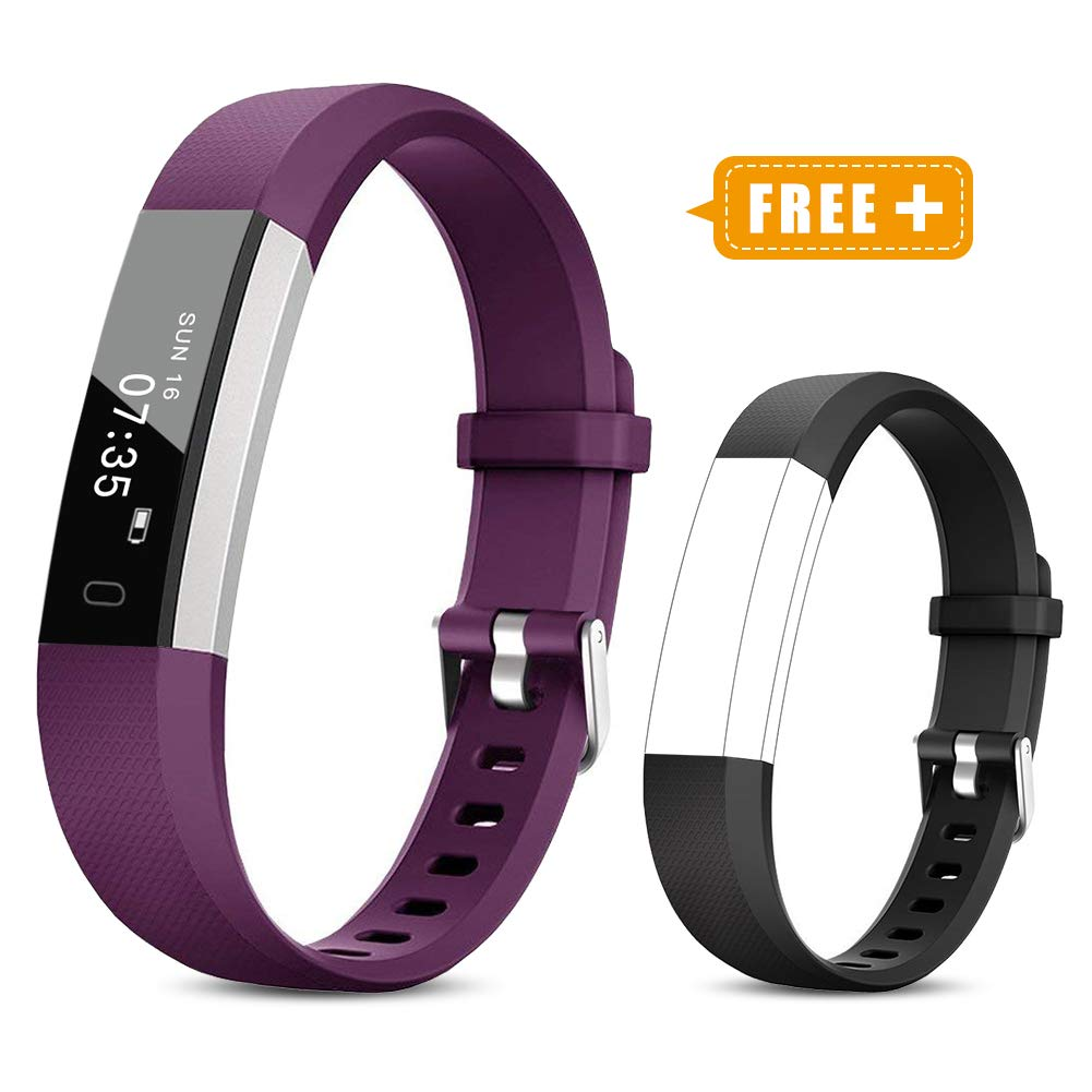 TOOBUR Fitness Activity Tracker Watch for Kids Girls Women, Pedometer, Calorie Counter, IP67 Waterproof Step Counter Watch with Sleep Monitor and Vibrating Alarm Clock (Purple Black) by TOOBUR