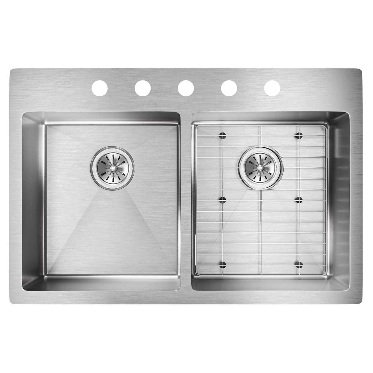 Elkay Crosstown ECTSR33229TBG5 Equal Double Bowl Dual Mount Stainless Steel Sink Kit