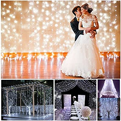Outop Double Link Design 9.8FT 304 LED 8 Model Window Curtain String Lights Icicle Fairy Lights for Wedding Ceremony Christmas Party Celebration Home Patio Lawn Garden Decorations (White)