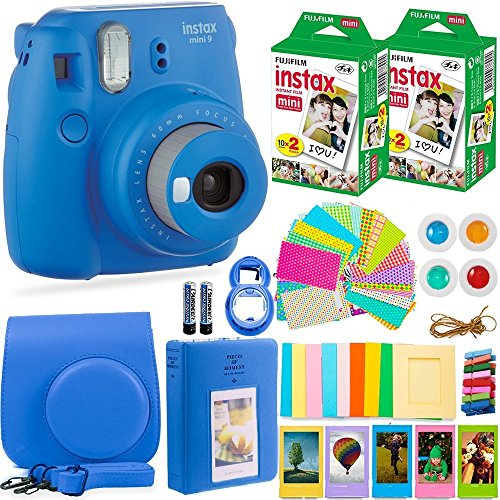 Kit Twin Camera (Fujifilm Instax Mini 9 Camera + Fuji Instax Film (40 Sheets) + Accessories Bundle - Carrying Case, Color Filters, Photo Album, Stickers, Selfie Lens + More (Cobalt Blue))