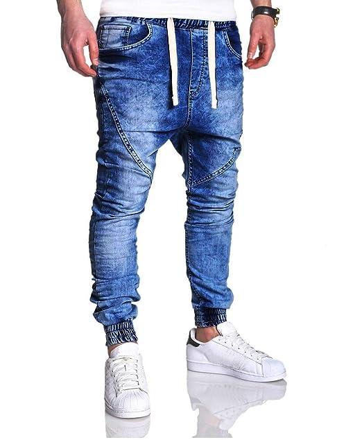 Pantalones Vaqueros del Vintage de los Hombres, Pantalones Delgados de la Moda del Dril