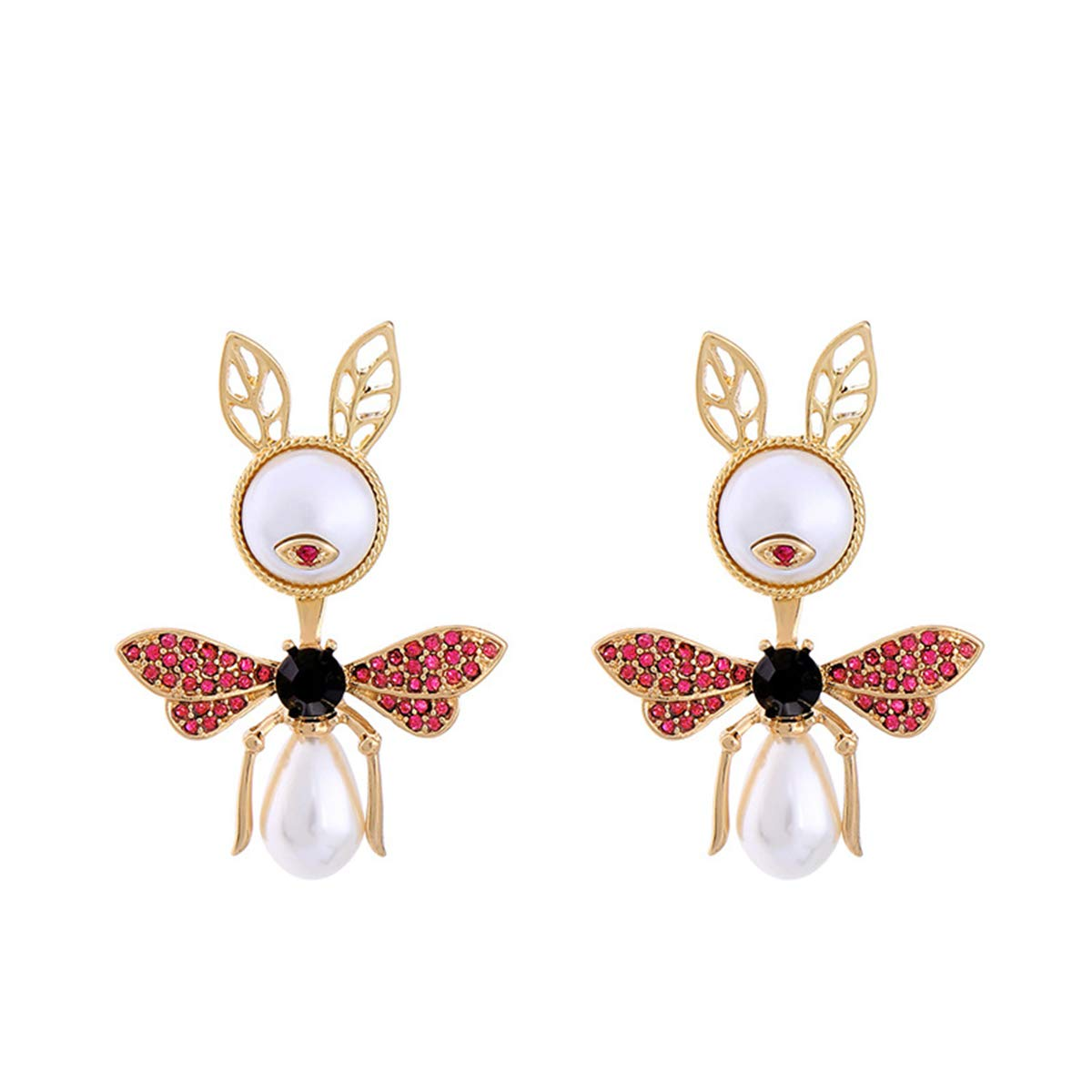 Libaraba Rhinestone and Crystal Accent Simulated Pearl Little Ant Stud Earrings with Jewelry Box,Ant Earrings for Women