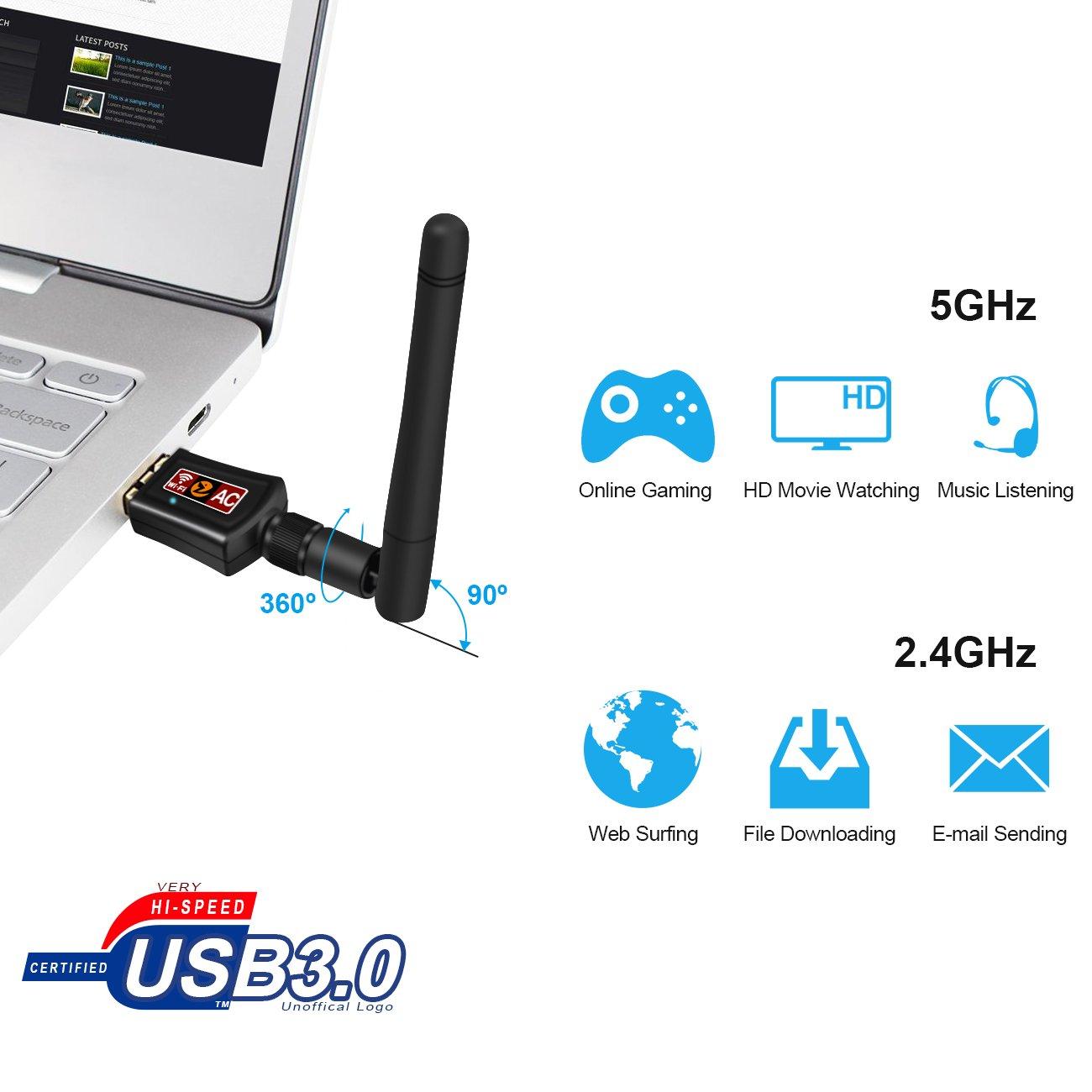 Zoweetek® Clé USB Wifi 600 Mbp avec Antenne Double Bande | USB 2.0 | Plug and Play | WPS | Indicateur LED | Deux Fréquences 2,4 / 5 GHz | Nouvelle norme Wi-Fi 802.11B / G / N / AC | Compatible avec Windows XP/ Vista/ 7/ 8/ 10, Linux, Mac OS