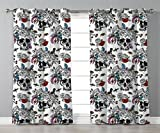 Thermal Insulated Blackout Grommet Window Curtains,Gothic,Day of the Dead Inspired Human Skulls Design with Colorful Flowers Mexican Tradition,Multicolor,2 Panel Set Window Drapes,for Living Room Bedr