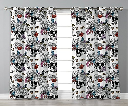 Thermal Insulated Blackout Grommet Window Curtains,Gothic,Day of the Dead Inspired Human Skulls Design with Colorful Flowers Mexican Tradition,Multicolor,2 Panel Set Window Drapes,for Living Room Bedr by iPrint