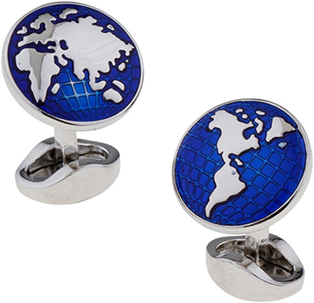 World Map Cufflinks Globe Traveler Travel Blue Silver Groom Dad Cuff Links