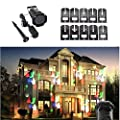 Penton Halloween Decoration Rotating Projection Led Lights Snowflake Spotlight, 10PCS Pattern Lens Christmas Led Projector Light Show Waterproof for Landscape, Christmas, Garden, Wall, Party, Birthday, Tree, White