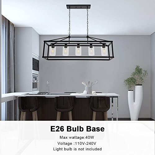 BONLICHT Kitchen Island Lighting 5 Light Modern Farmhouse Metal Cage Chandeliers with Clear Glass Shade Black Industrial Rectangle Dining Room Light Fixture Hanging Pendant Lamp for Foyer Bar Entryway