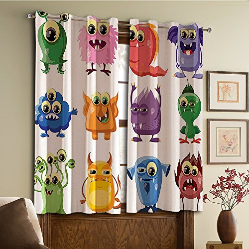 Price comparison product image Custom design curtains / Vintage Lace Window Curtain / Grommet Top Blackout Curtains / Thermal Insulated Curtain For Bedroom And Kitchen-Set of 2 Panels(ens Theme Germ Whimsical Cartoon Monsters with Hum)