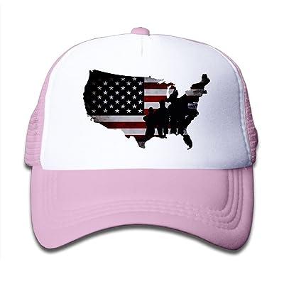 DNUPUP Kid's Veterans Day US Flag Map Adjustable Casual Cool Baseball Cap Mesh Hat Trucker Caps