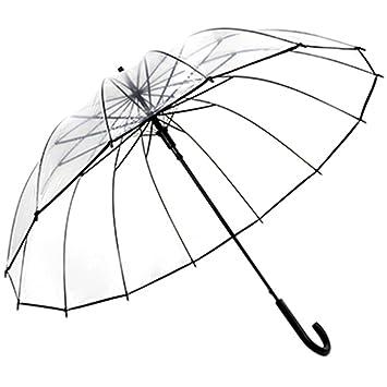 Huihong Paraguas Transparentes, Personalidad de Mango Largo,Paraguas Transparentes para Las Mujeres (Full