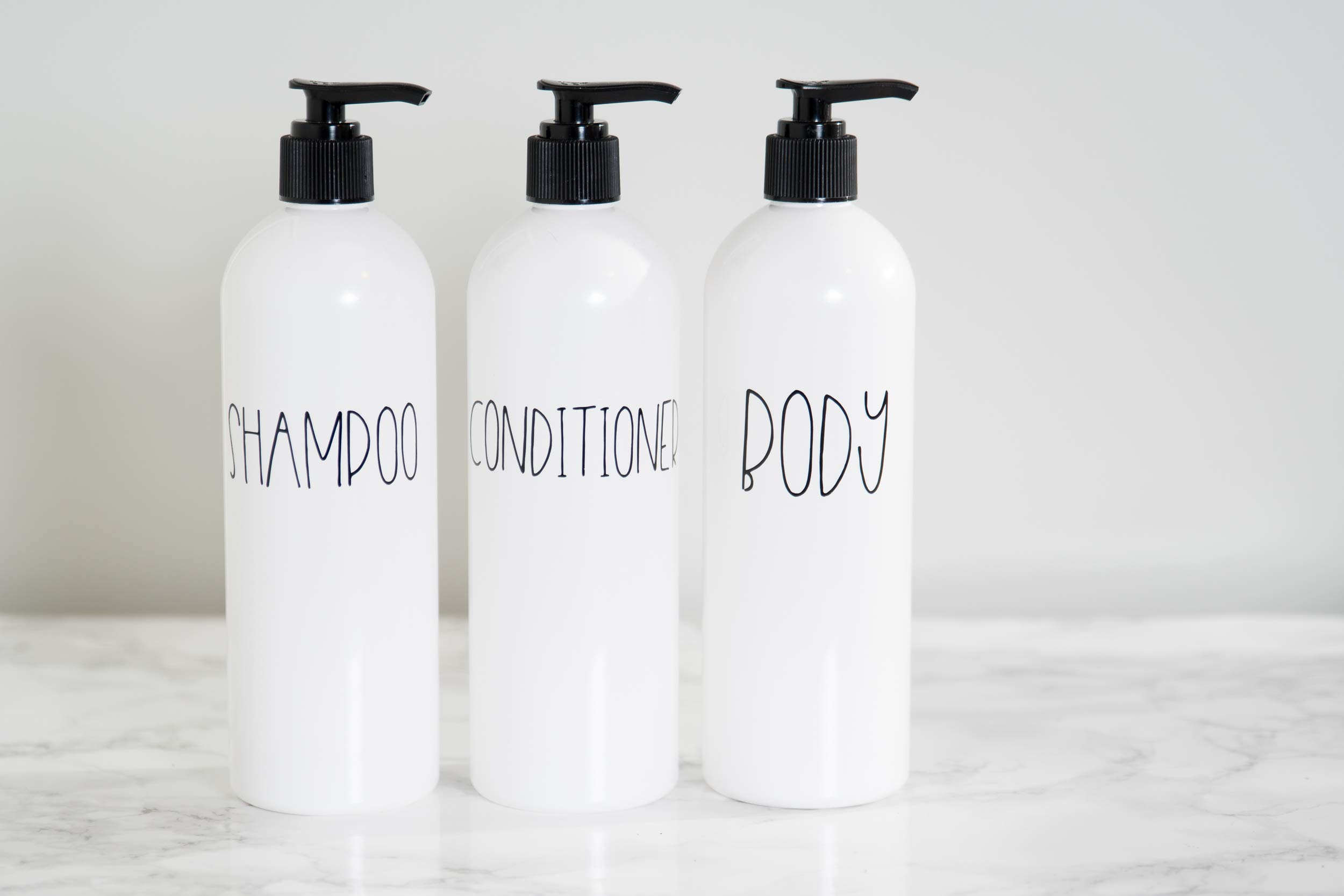 Heartland Lettering Farmhouse Shampoo Dispenser, Empty Conditioner Containers, Body Wash Bottles with Pump, Toiletry Bottle Set of 3, 16 oz