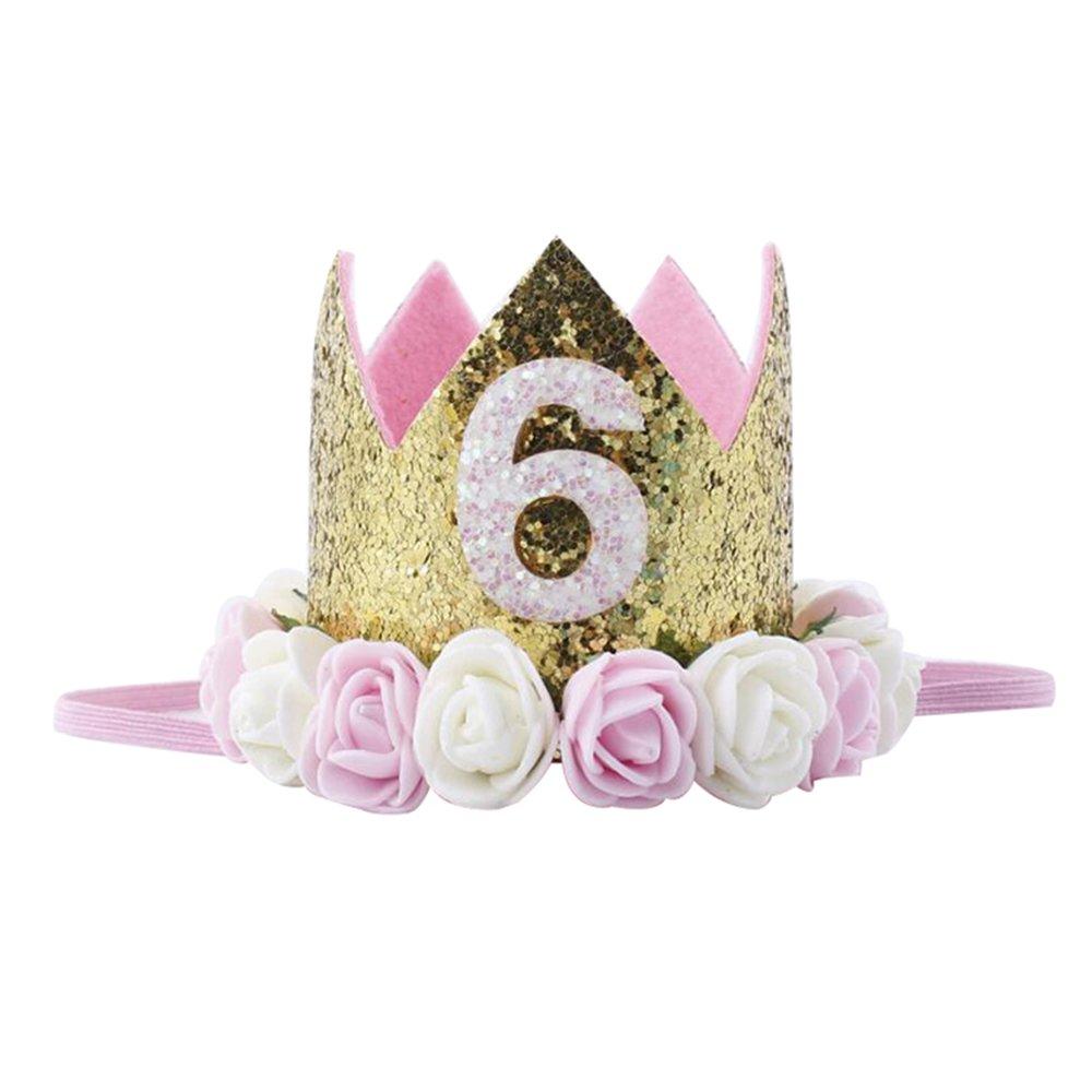 Bosoner Baby Princess Crown 1 Tiara Kids First Birthday Hat Sparkle Gold Flower Design
