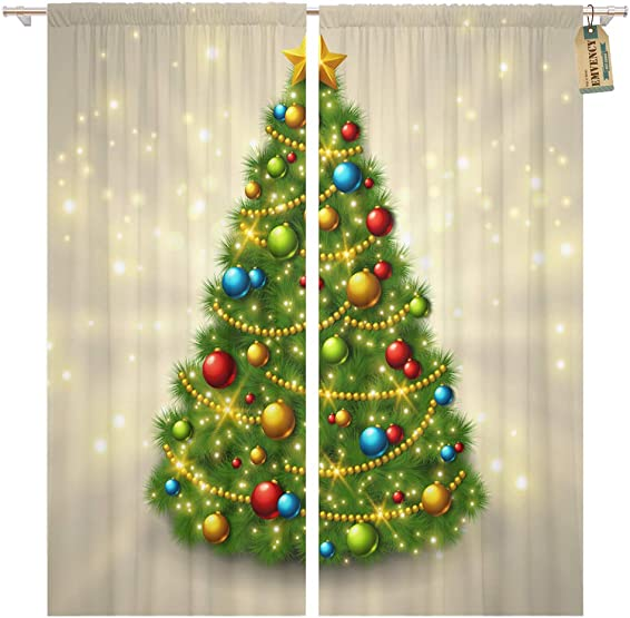 Golee Window Curtain Christmas Tree Colorful Baubles and Gold Star Top Glowing Home Decor Pocket Drapes 2 Panels Curtain 104 x 96 inche