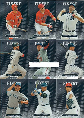 (2013 Topps Finest MLB Baseball Series Complete Mint Hand Collated 100 Card Set; It Was Never Issued in Factory Form. Absolutely Loaded with Great Rookie Cards Including Yasiel Puig, Manny Machado, Gerrit Cole, Trevor Rosenthal, Evan Gattis, Michael Wacha and More. Stars Include Bryce Harper, Dustin Pedroia, Miguel Cabrera, Mariano Rivera, Derek Jeter, Yu Darvish, Justin Verlander, Mike Trout and More!!)
