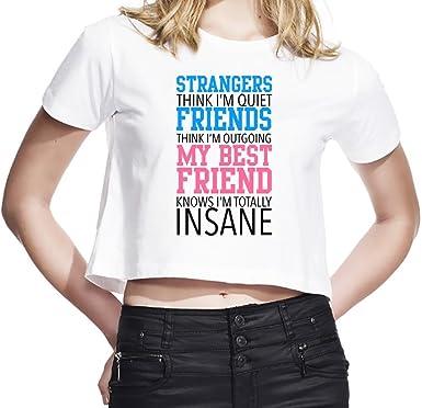 b9918fb0 Strangers Think I'm Quiet Friends Think I'm Outgoing Slogan Women's Cropped  T-Shirt| 100% Ultra Soft Cotton| Premium Quality DTG Printing| Unique  Clothing ...