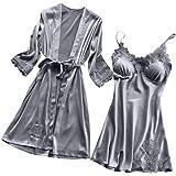 99native Femme Chic Peignoir Soie Dentelle Robes Robe Nuisette Chemise Vêtements De Pyjama Kimono Chemise de Nuit Sexy en Dentelle + Robes de Cardigan Ensemble 2pcs