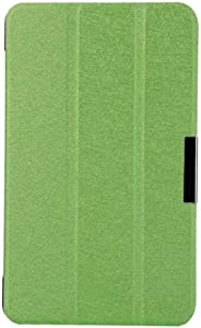 "Ultra Thin Slim Folio Stand Silk Pattern PU Leather Case with Smart Cover Auto Wake/Sleep Feature Compatible with Acer Iconia One 7 B1-750 B1-750HD, 3-Folding Tablet Case for A1408 7"" (Green)"