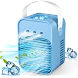 Portable Air Cooler, Mini Air Conditioner, 4 in 1 Personal Evaporative Cooler, Humidifier, Purifier with 7 Colors LED Light,