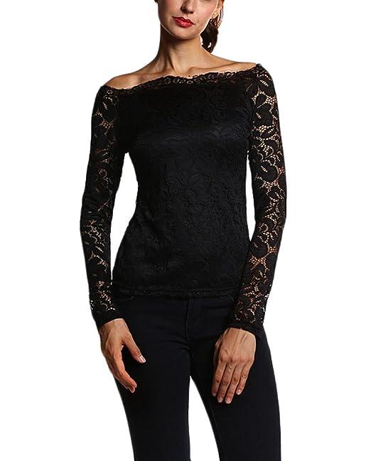 ... Grandes Camisas Fiesta Elegantes Barco Cuello Slim Fit Otoño T-Shirt Blusas Off Shoulder Juvenil Basicas Casual Mujeres: Amazon.es: Ropa y accesorios