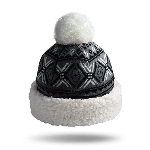 Pudus Geometric Black Adult one Size Cozy Winter hat Sherpa Lining ... 5b93ce8f3e1d
