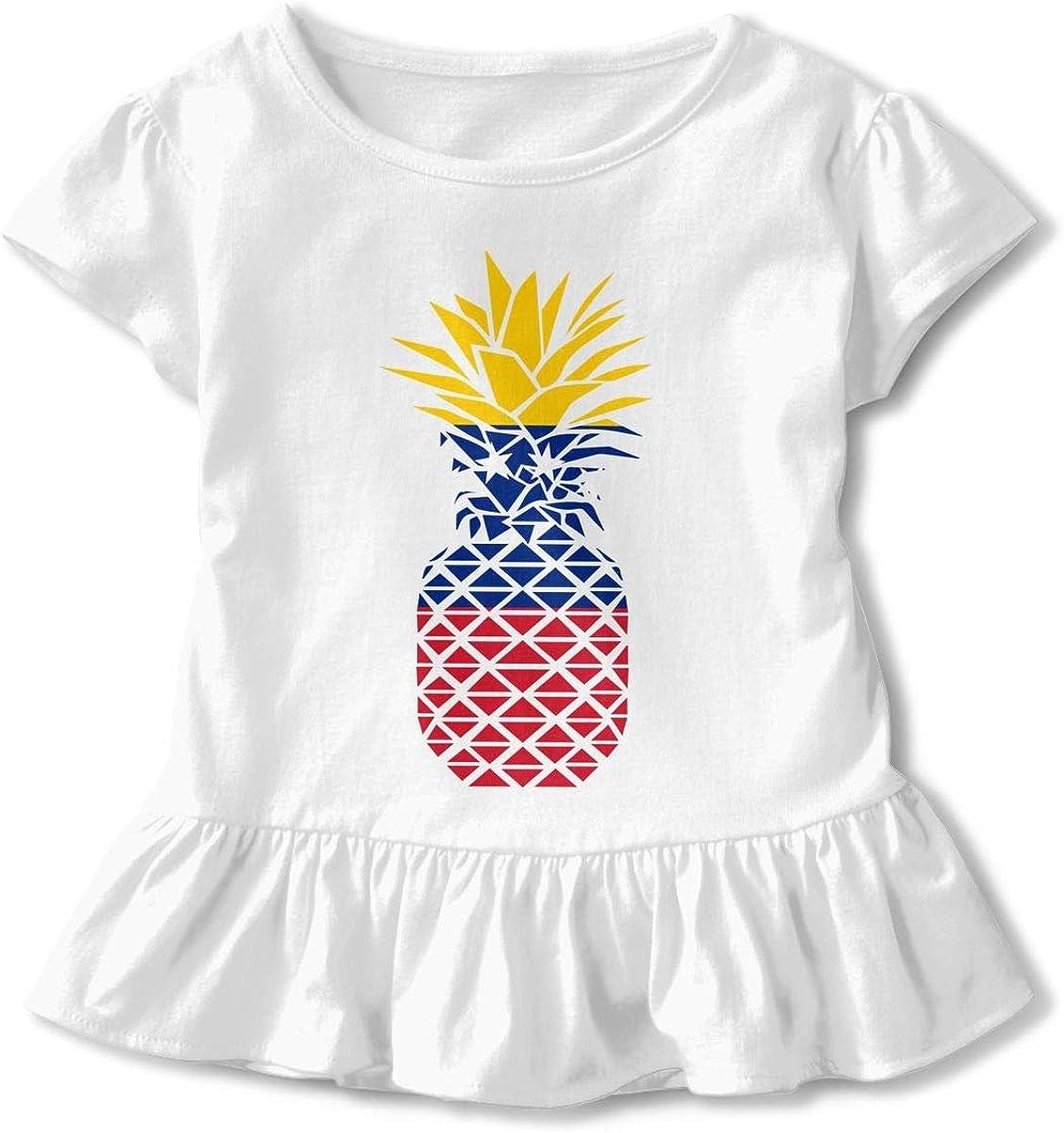26NSHIRT Venezuela Flag Pineapple Toddler Girls Short Sleeve Peplum Top