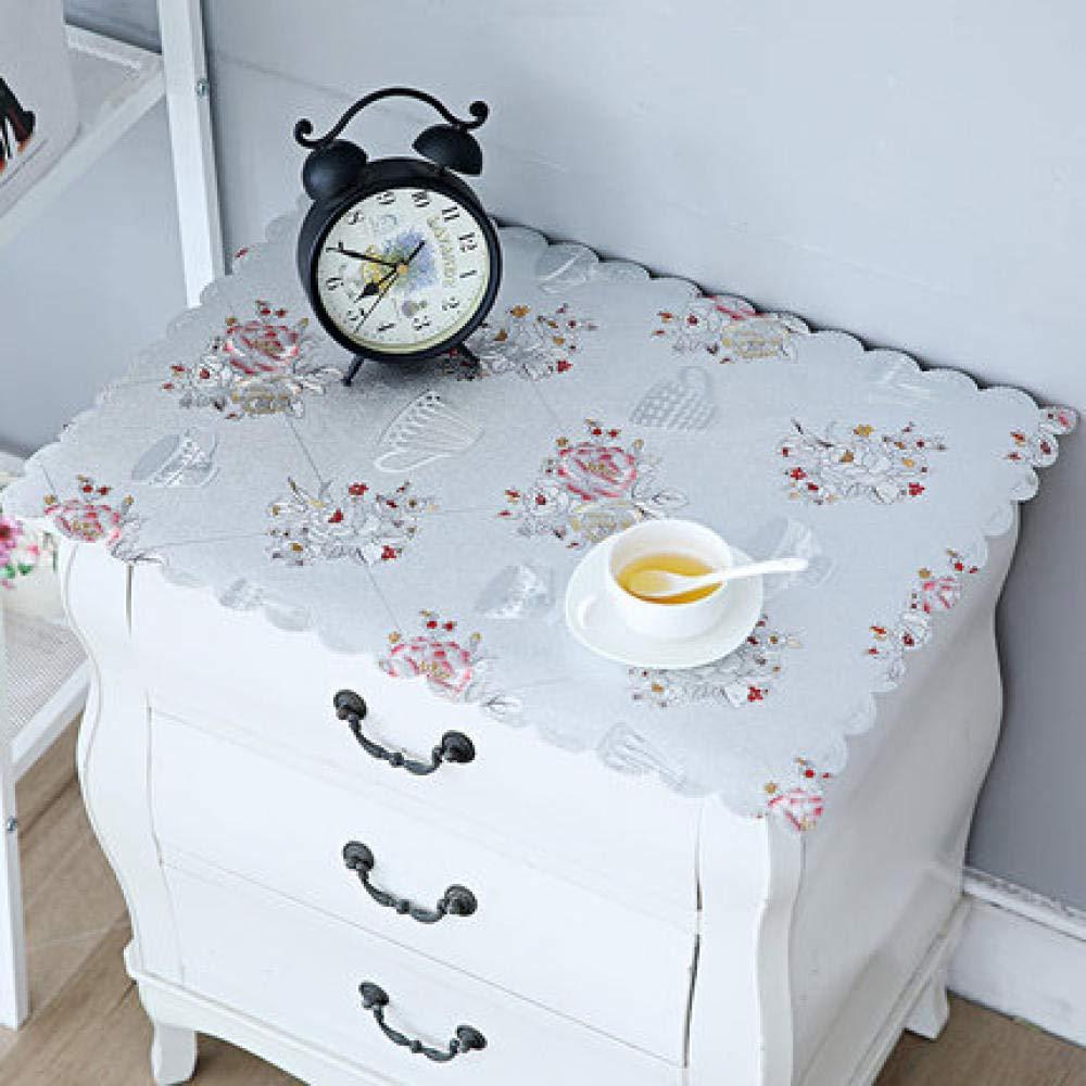 WJJYTX tischdecke Plastik, Nachttischdecke Abwischbare Vinyl-Tischdecke Stilvolles Muster Wasserdicht Kleines Quadrat Silber @ 40 * 50