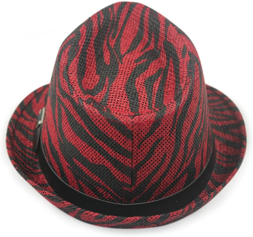 Wangs Zebra Pattern Sun Hat Belt Buckle Hat Summer Curling,Breathable,Sun Hat